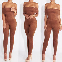 2016 New Rompers Womens Jumpsuit Fashion Combinaison Femme Elegant Lady Bodysuit Sexy Strapless Christmas Playsuit Plus Size