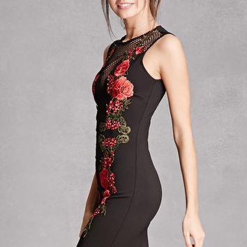 Floral Applique Bodycon Dress