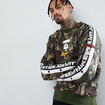 AAPE By A Bathing Ape Camo Sweathshirt With Logo Taping at asos.com
