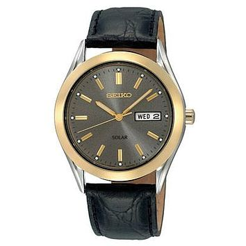 Seiko Solar Mens Watch - Gray Dial - Two-Tone - Black Leather Strap - Day-Date
