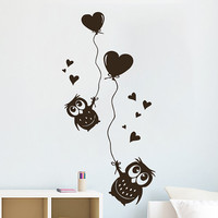 Wall Decals Owl on Branch Childrens Decor Kids Vinyl Sticker Balloon Heart Wall Decal Nursery Baby Room Bedroom Playroom - Owl Decor SV6006