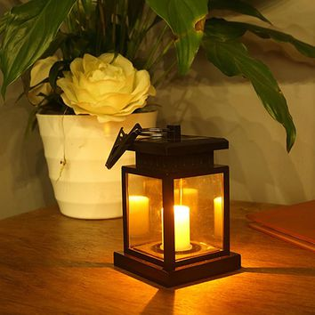Waterproof LED Solar Garden Light Outdoor Flickering Flameless Candle Hanging Lantern Smokeless for Yard Lawn Patio Camping Tent