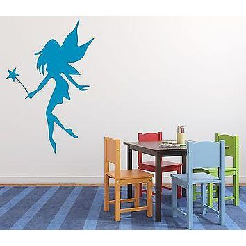 Wall Sticker Vinyl Decal Little Fairy With Wings and a Magic Wand Unique Gift (n127)