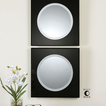 Girard Black Square Mirrors S/2