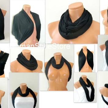 Infinity Scarf,Loop Scarf,Circle Scarf, textile Black Scarf,Cowl Scarf,Nomad Cowl....