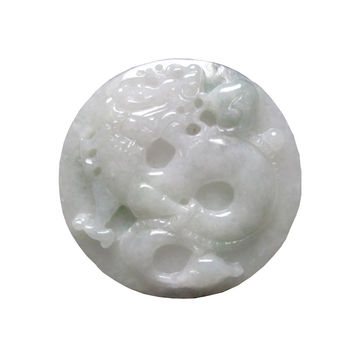 Chinese Natural Jade Carved Dragon Fortune Motif Pendant k322s