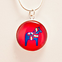Swedish Dala Horse Photo Jewelry Pendant with FREE Ship to USA