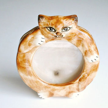 Vintage Cat Frame Orange Tabby Kitty Seymour Mann Japan Round Picture Holder