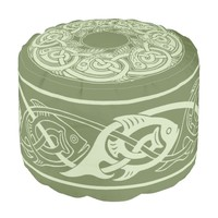 Celtic Knotwork Fish in Green Pouf