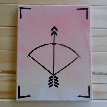 Bow & Arrow- Watercolor Painting, Abstract, Vinyl, Symbol, Minimalist, Home Decor, Gifts for Her, Inspirational, Bedroom (11x14)