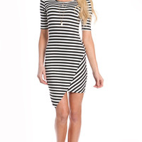 ASYMMETRICAL STRIPED QUARTER SLEEVE DRESS