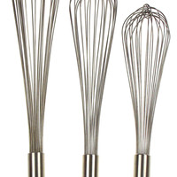Capco Piano Whip Whisk Set of 3 Large Restaurant Quality 18-8 Stainless Steel SS
