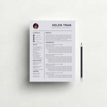 Resume Template with Photo - CV Template + Cover Letter for MS Word, Creative and Professional Resume Design, Instant Digital Download
