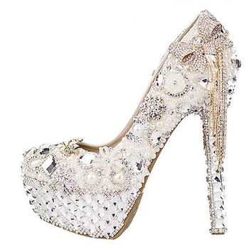 100% genuine leather wedding shoe costly bowknot rhinestone with waterproof shoes pearl crystal tassels bride shoes