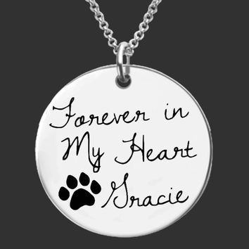 Forever in My Heart Personalized Dog Memorial Necklace