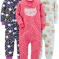 Girls' 3-Pack Snug-Fit Footless Cotton Pajamas