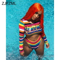 Letter Rainbow Striped Sexy 2 Piece Outfits Women O Neck Long Sleeve Crop Top And Skinny  Shorts Summer Two Piece Matching Sets