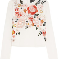 Needle & Thread - Trailing Floral embellished chiffon top