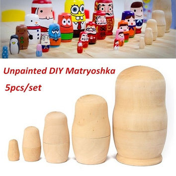 5pcs DIY Unpainted Blank Wooden Embryo Russian Nesting Dolls Matryoshka Toy Gift (Size: 1) [8833922252]