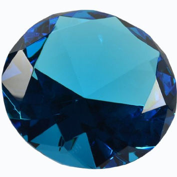 "Turquoise Crystal Glass Diamond Paperweight 4"" Diameter (100mm)"
