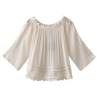 White Off Shoulder Crochet Insert Applique Trim Pleated Blouse