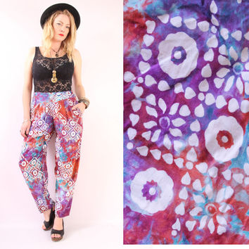 90s - Ethnic - Rainbow Tie Dye - Floral Batik - Pleated - High Waist - Tapered - Harem Pants - Boho - Hippie