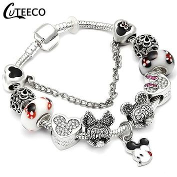 Mickey Mouse Fashion Charms Bracelet Bangle For Women Beads  Fit Most Brand Bracelets Jewelry