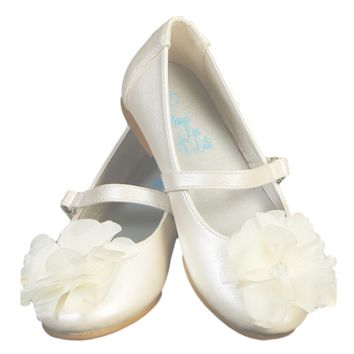 Ivory Dress Shoes with Rhinestone Center Flower & Top Strap Dress Shoes (Baby & Toddler Girls)