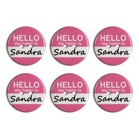 Sandra Hello My Name Is Plastic Resin Button Set of 6