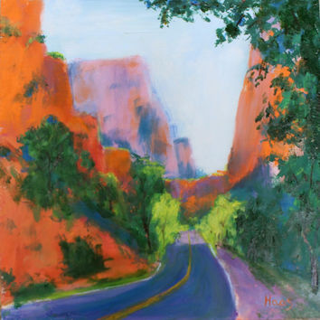 Oil Painting - Original - Honeyscolors - Landscape - Zion National Park - Big Bend - 12 x 12 - Wet Paint