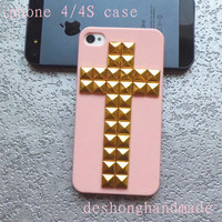 Iphone 4 Case, iPhone 4s Case, studded iphone 4 case,golden Studded Cross pink IPHONE 4/4S Case----for Apple iPhone 4 Cases