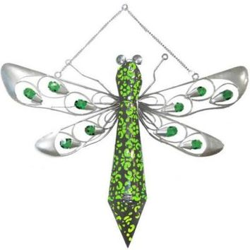 Sheilashrubs Solar Hanging Firelight Dragonfly With Green L