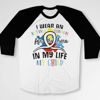 Autism Awareness T Shirt Autism Mom TShirt Autistic Support Dad Gifts Autism Spectrum Speaks Ribbon For My Child Baseball Raglan Tee DN-678