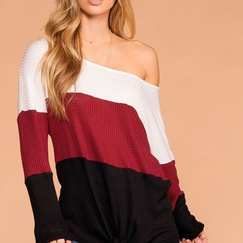 Sabrina Burgundy and Black Color Block Waffle Knit Tie-Front Top