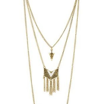 Gold Boho Layered Tribal Charm Necklace by Charlotte Russe