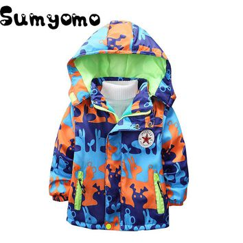 3-8Y Toddlers Boys Thicken Thermal Jackets Hoodie Children Outerwear Kids Windbreaker Fleece Inside Sports Clothing Boys Clothes