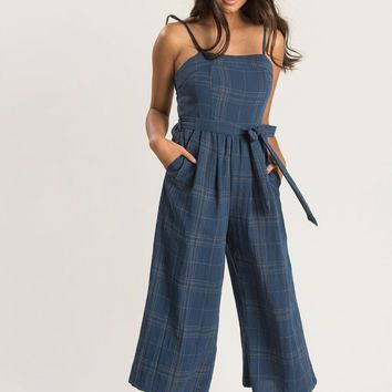 Gina Navy Plaid Jumpsuit