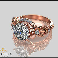 14K Rose Gold Diamond Ring,Alternative Engagement ring,Leaf and Flower Ring,Wedding Ring,Promise Ring,Ladys Jewelry,Unique Engagment Ring.