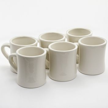 Diner Coffee Mugs 6 Set Cream Ceramic