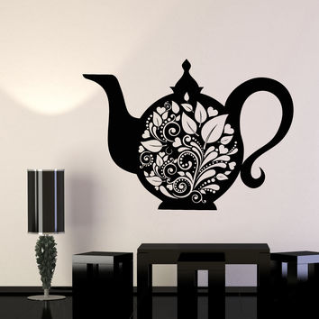 Vinyl Wall Decal Kettle Teapot Tea Kitchen Decor Dishes Stickers Unique Gift (905ig)