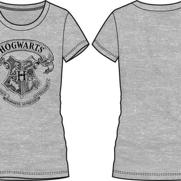 Harry Potter Hogwarts Crest Women's Gray Tee