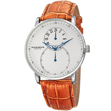 Akribos XXIV Men's Multifunction Japanese Quartz Leather Strap Watch | Overstock.com Shopping - The Best Deals on Akribos XXIV Men's Watches