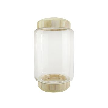"13.5"" Cylindrical Transparent Glass Container with Wooden Base and Lid"