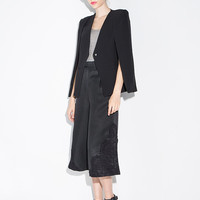 Black Casual Cape Suit