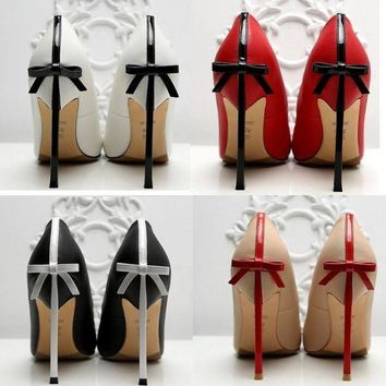 onetow One-nice? High - heeled shoe stilettos of the bow tie Sexy women's shoes Wedding shoe 10 CM