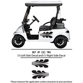 Golf Cart Vinyl Graphic Decals, Set of (2) TWO - STYLE S002