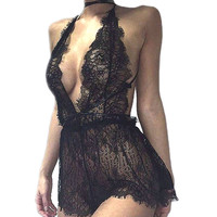 Fancy Sexy Women Black Lingerie Sleepwear Lace Babydoll Hollow Out Crochet Bustier Lingerie brassiere Plus Size Bra Costume L3