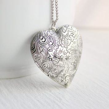 Long Silver Heart Locket Necklace with Scroll Detail - Victorian-Inspired Gift Idea - Handmade Jewelry - OOAK - Ready to Ship