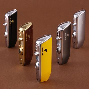 COHIBA High Quality Pocket Size Metal Snake Mouth Shape Refillable Butane Gas 3 Torch Jet Flame Cigarette Cigar Lighter W Punch
