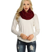 Red Keep Me Warm Chunky Cable Scarf